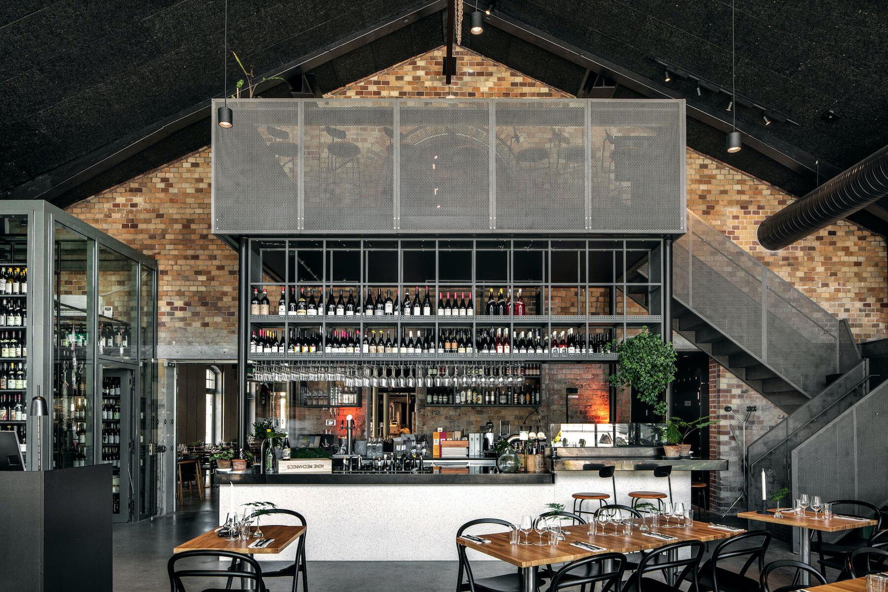 Wine mechanics restaurant front view of the winebar