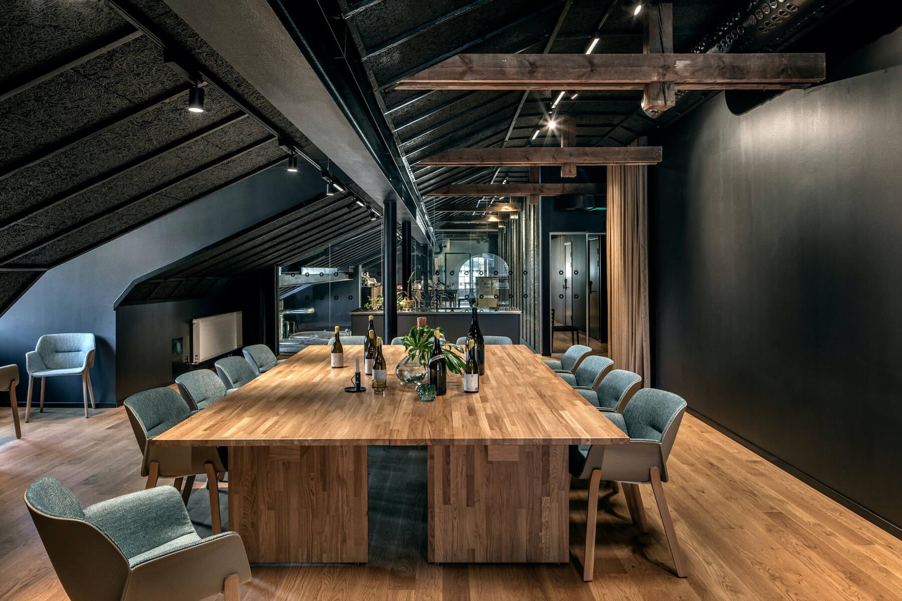 Wine mechanics tasting loft seating arrangement